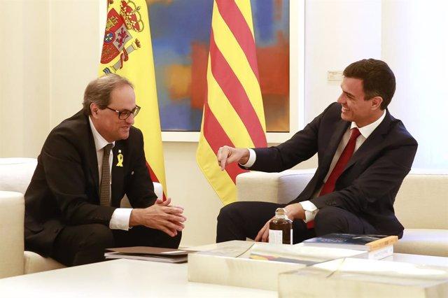 El president del Govern central, Pedro Sánchez, rep el president de la Generalitat, Quim Torra, al palau de La Moncloa.
