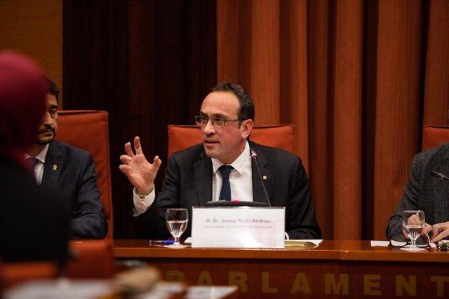 L'exconseller de Territori i Sostenibilitat de la Generalitat, Josep Rull,  declara davant la comissió d'investigació de l'aplicació del 155 a Catalunya, al Parlament de Catalunya, Barcelona (Catalunya), 28 de gener del 2020.