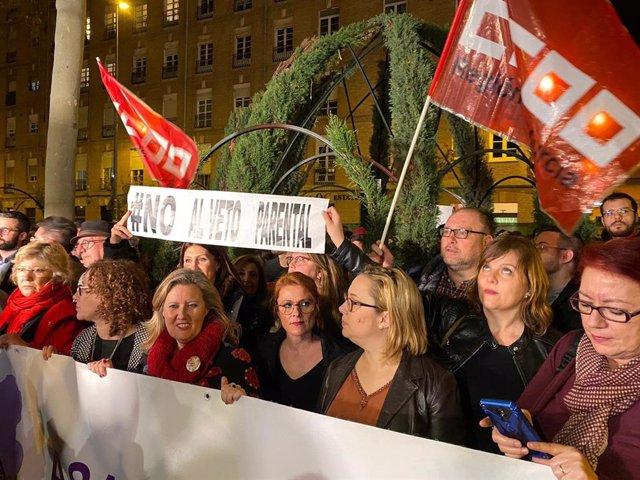Imagen de la concentración contra el veto parental