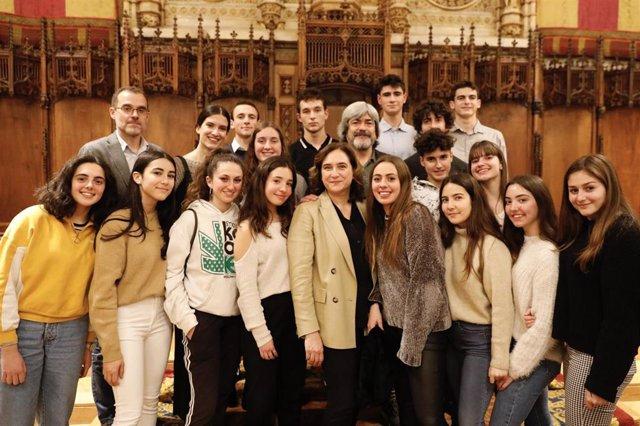 La alcaldesa de Barcelona, Ada Colau, en el acto de homenaje a las víctimas de Holocausto