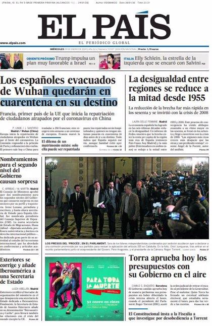 Las portadas de los periódicos del miércoles 29 de enero de 2020