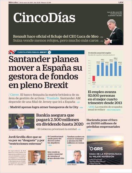 Las portadas de los periódicos económicos de hoy, miércoles 29 de enero