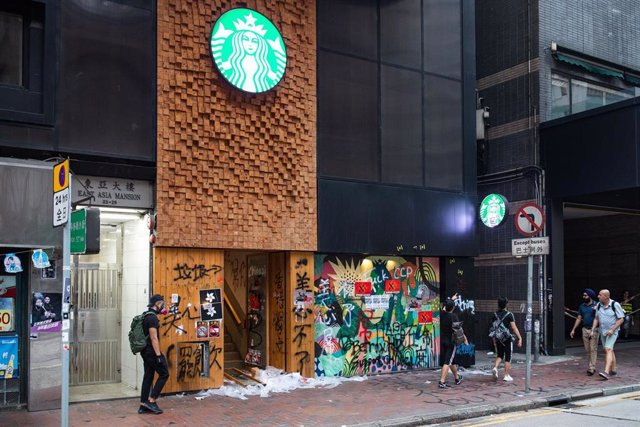 Cafetería de Starbucks en Hong Kong