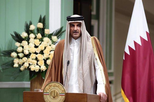 Tamim bin Hamad Al Thani, emir de Qatar, en una visita oficial a Teherán