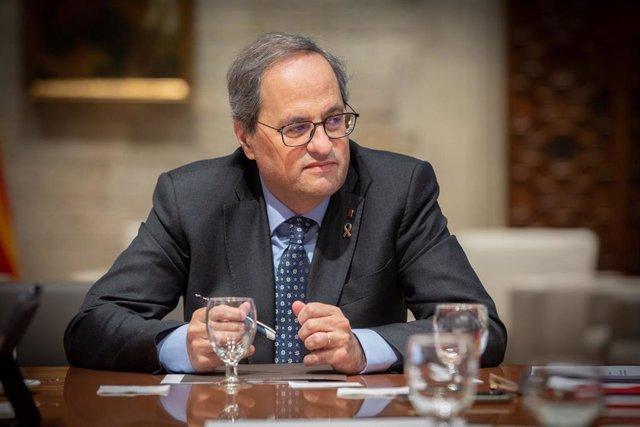 El preisident de la Generalitat, Quim Torra, durante la reunión del Govern  con motivo de los efectos del temporal 'Gloria', en Barcelona /Catalunya (España), a 24 de enero de 2020.
