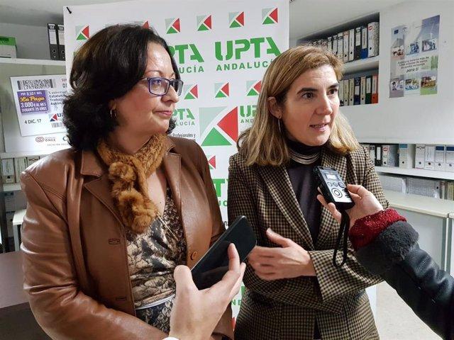 La consejera de Empleo, Formación y Trabajo Autónomo, Rocío Blanco, atiende a los medios junto a la secretaria general de UPTA-A, Inés Mazuela.