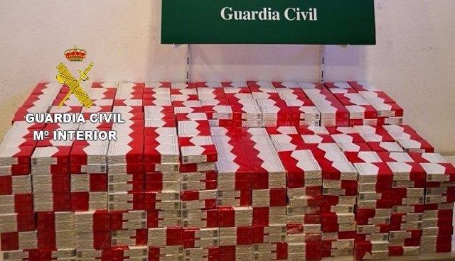 Cajetillas de tabaco incautadas en La Jonquera (Girona)