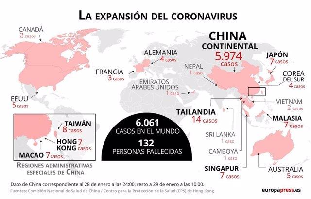 Mapa con casos de coronavirus
