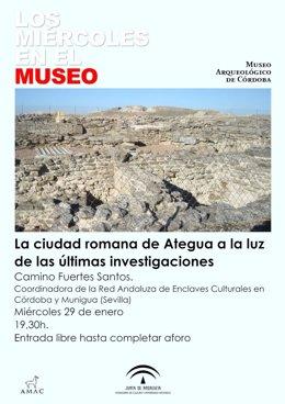 Cartel de la conferencia 'La ciudad romana de Ategua a la luz de las últimas investigaciones'