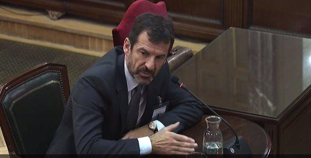 El comisario de Mossos d'Esquadra, Ferrán López, durante su declaración como testigo en la vigesimoquinta jornada del juicio del procés en el Tribunal Supremo.