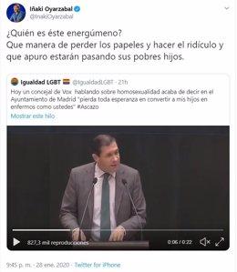 Captura de un comentario en Twitter del presidente del PP de Álava, Iñaki Oyarzábal
