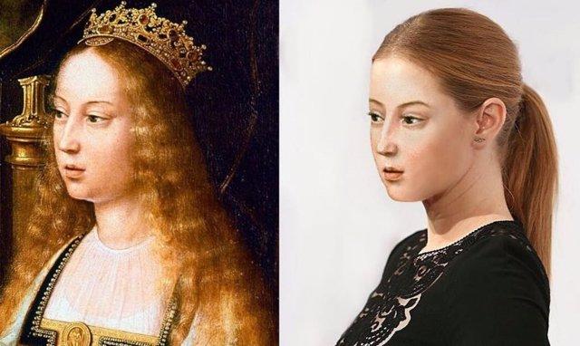 Retrato de Isabel de Castilla y simulación de cómo sería en la actualidad según la diseñadora gráfica Becca Saladin