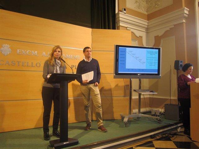 Amparo Marco y David Donate haciendo balance de gestión económica