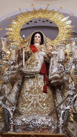 Virgen del Rosario de Carrión sin corona tras ser sustraída.