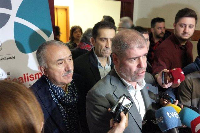 Los secretarios generales de CCOO y UGT, Unai Sordo y Pepe Álvarez, respectivamente.