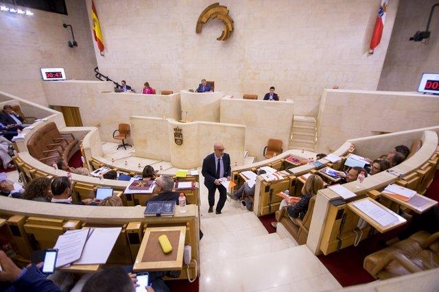 El portavoz de Ciudadanos (Cs) Cantabria en el Parlamento, Félix Álvarez, en el hemiciclo