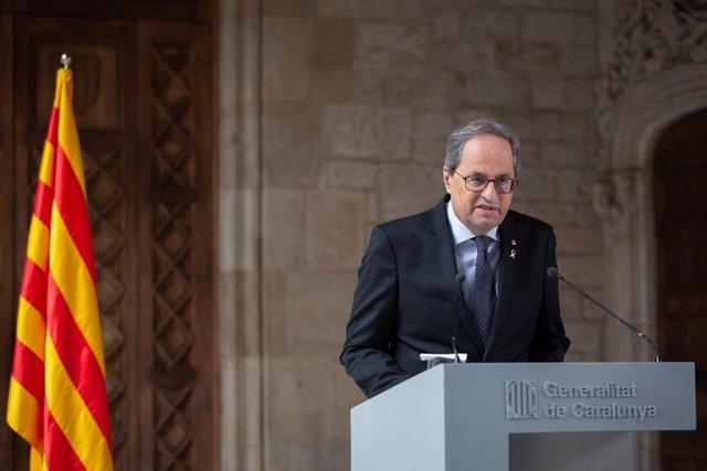 El president de la Generalitat, Quim Torra, anuncia que hi haurà un avançament electoral a Catalunya, al Palau de la Generalitat /Barcelona /Catalunya (Espanya), 29 de gener del 2020.