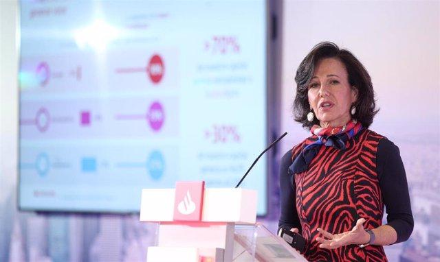 La presidenta del Banco Santander, Ana Botín durante la presentación de los resultados correspondientes al ejercicio 2019, en la Ciudad Grupo Santander, en Boadilla del Monte/Madrid (España), a 29 de enero de 2020.