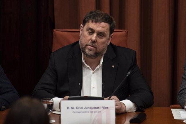 El exvicepresident de la Generalitat y preso del 'Procés', Oriol Junqueras, declara ante la Comisión de Investigación de la aplicación del 155 en Catalunya, en el Parlament de Catalunya /Barcelona, a 28 de enero de 2020.
