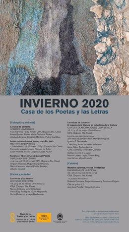 Cartel invierno 2020 de la Casa de los Poetas y las Letras.