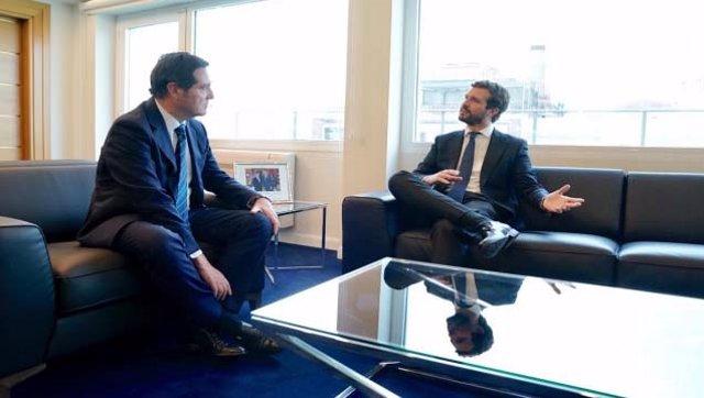 El presidentel del PP, Pablo Casado, se reúne con el presidente de la CEOE, Antonio Garamendi