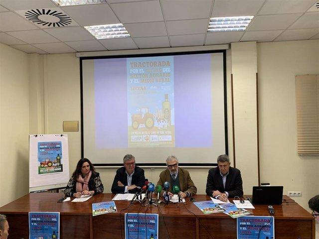 Los responsables de COAG, UPA, Asaja y Cooperativas Agroalimentarias de Córdoba en la rueda de prensa.