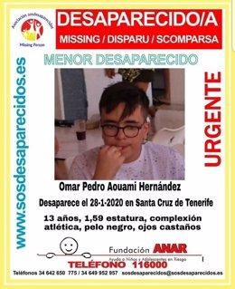 Alerta de menor desaparecido en Santa Cruz de Tenerife
