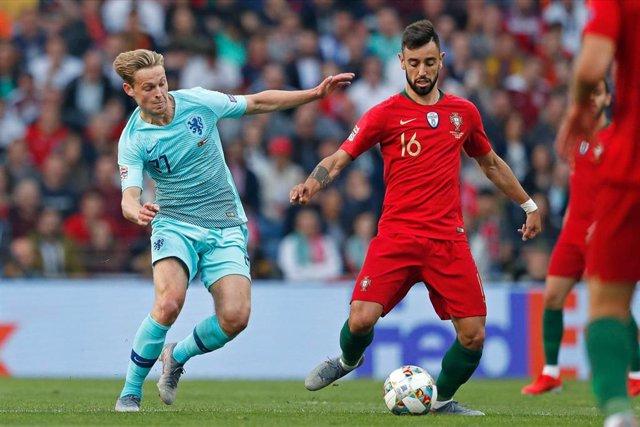Bruno Fernandes en un Portugal - Holanda