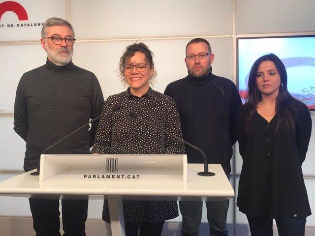 Els diputats de la CUP C.Riera; N.Sànchez; V.Aragonès i M.Sirvent al Parlament.