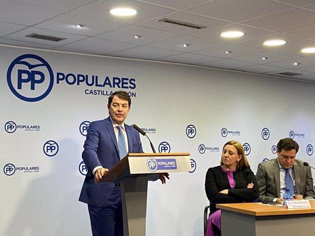Alfonso Fernández Mañueco interviene hoy en el Comité Ejectuvio del PP.
