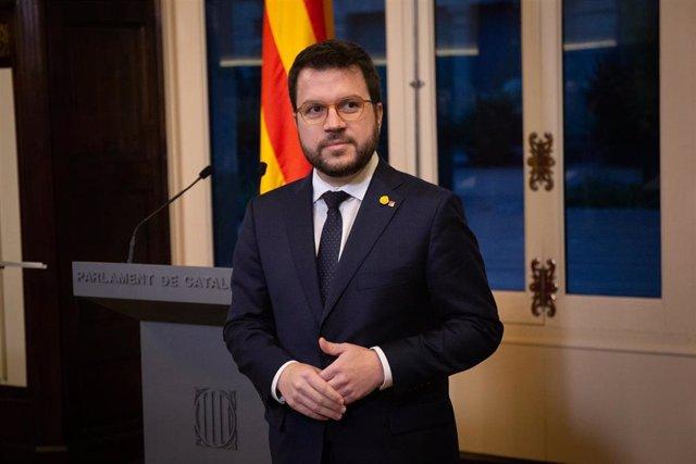 El vicepresident de la Generalitat, Pere Aragons, durante la presentación de los Presupuestos de la Generalitat de 2020 en la Comisión de Economía del Parlament de Catalunya, en Barcelona/Cataluña (España) a 29 de enero de 2020.