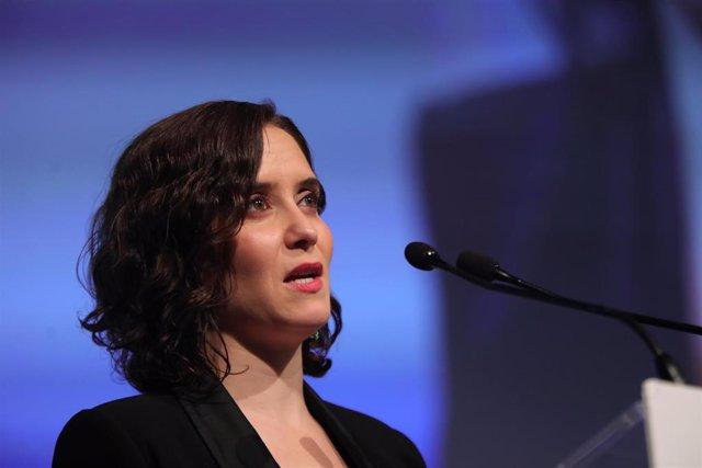 La presidenta de la Comunidad de Madrid, Isabel Díaz Ayuso, durante su discurso en el Foro de Liderazgo Turístico de Exceltur en Ifema, en Madrid a 21 de enero de 2020.