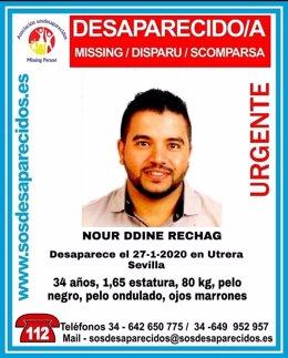 Cartel alertando de la desaparición de Nour Ddine Rechag