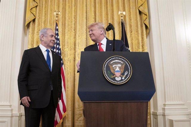 Trump y Netanyahu durante el anuncio de la propuesta de paz de Estados Unidos para el conflicto palestino-israelí.
