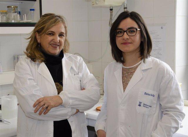 La doctora Rosa Bolea, a la izquierda, y la doctora ejeana Eloísa Sevilla, en la Unidad de Microbiología e Inmunología de la Facultad de Veterinaria de la Universidad de Zaragoza.