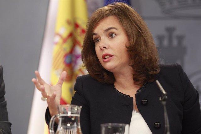 Soraya Saez de Santamaría, la vicepresidenta del Govern espanyol, després del Consell de Ministres