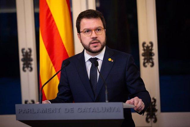 El vicepresident de la Generalitat, Pere Aragonès, en la presentació dels pressupostos de la Generalitat del 2020 en la Comissió d'Economia del Parlament de Catalunya, Barcelona/Catalunya (Espanya) 29 de gener del 2020.