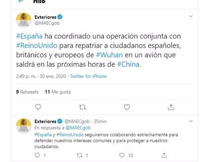 """Exteriores confirma que """"en las próximas horas"""" saldrá de Wuham el avión con los ciudadanos españoles"""