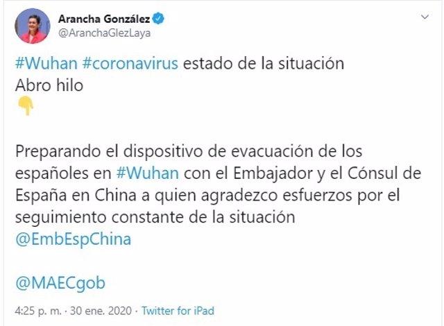 Twitter de la ministra de Asuntos Exteriores.