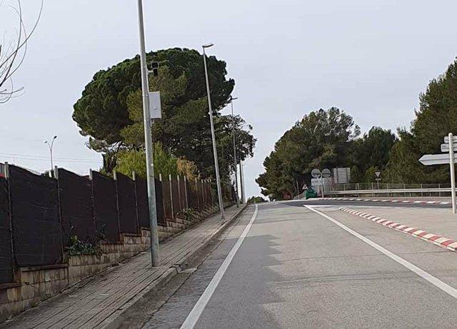 Una de les càmeres instal·lades en un dels accessos a Sant Quirze del Vallès (Barcelona).