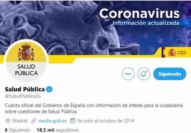 Cuenta de Twitter por el coronavirus