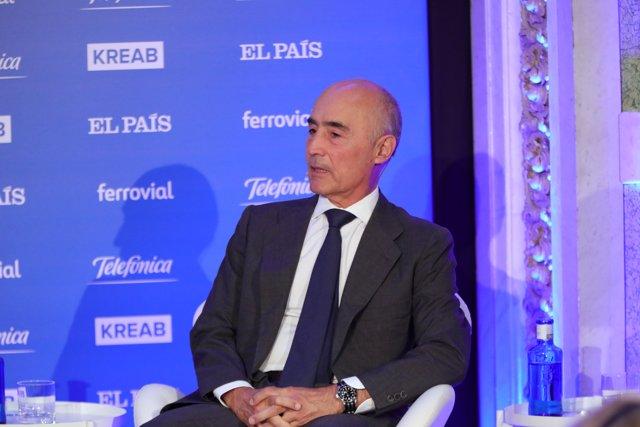 El presidente de Ferrovial, Rafael del Pino durante su intervención en la inauguración del Foro Tendencias España 2020, organizado por El País y Kreab en el Casino de Madrid, a 18 de septiembre de 2019.