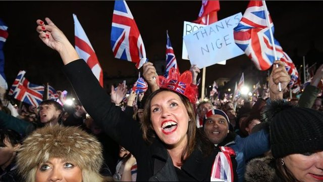 Brexit supporters celebrating it.