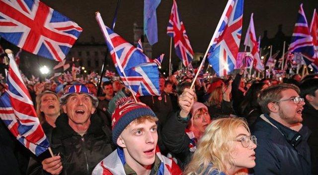 Participants of the Brexit celebration march.