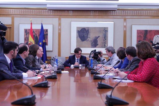 Reunión ministerial de evaluación y seguimiento del coronavirus, en Madrid (España) a 1 de febrero de 2020.