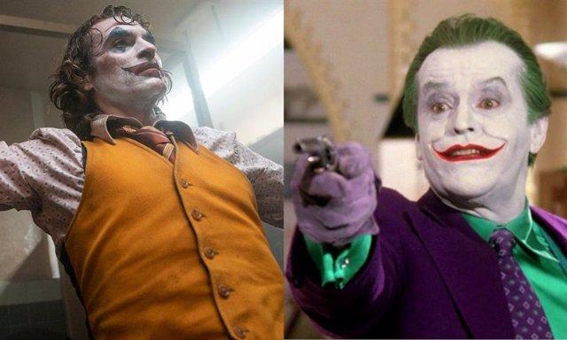 Joker, interpretado por Joaquin Phoenix y Jack Nicholson