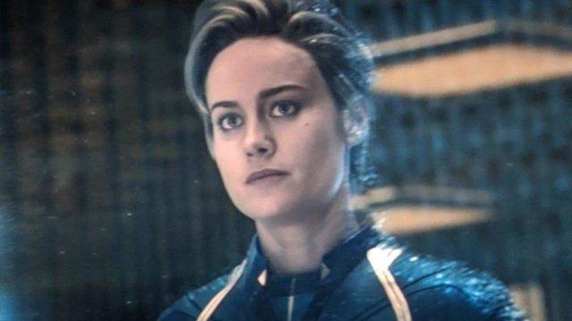 Brie Larson como la Capitana Marvel en Endgame
