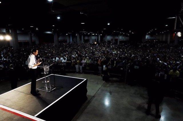 """Imagen del autoproclamado """"presidente encargado"""" de Venezuela, Juan Guaidó, en su intervención en Miami."""