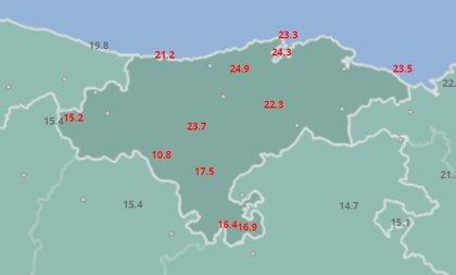 25ºC en San Felices de Buelna y más de 20ºC en varios municipios