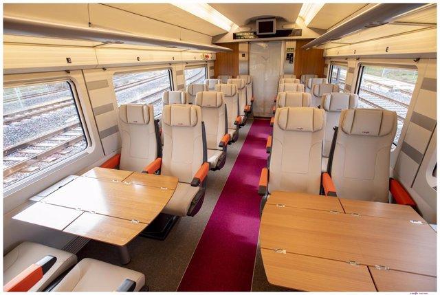 Interior de l'AVLO, el tren AVE 'low-cost' de Renfe